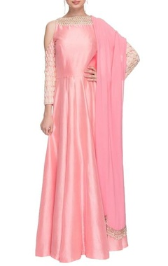 Pink cold shoulder anarkali with dupatta