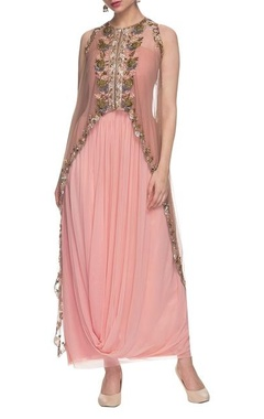 Light pink drape dress with embellished cape