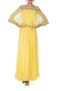 light yellow & gold embroidered cape anarkali set