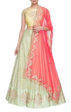 light yellow, hot pink & pista green embroidered lehenga set