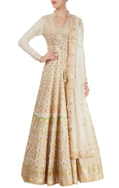 white embroidered anarkali set