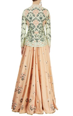 pista green embroidered jacket & peach lehenga