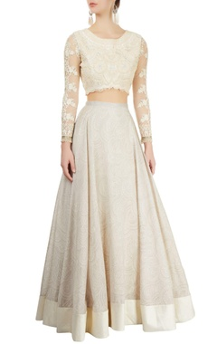 ivory printed lehenga & embroidered blouse