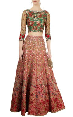 Coral pink embroidered lehenga & green printed blouse
