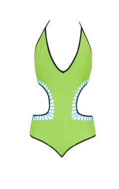 Green cut-out monokini
