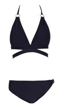 Black halter neck cut-out bikini