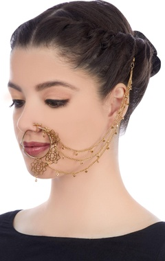 Gold plated nose ring with long chains