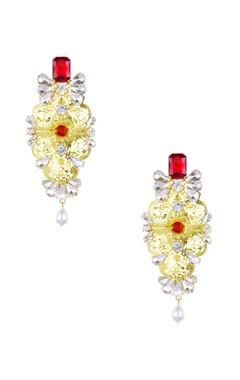 gold & red stone embellished manik earrings