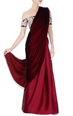 maroon & burgundy ombre sari