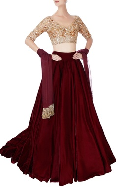 Manish Malhotra Maroon super flared lehenga