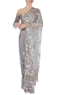 grey embellished sari & blouse