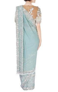aqua blue embellished sari