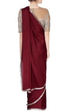 maroon sari & beige embroidered blouse