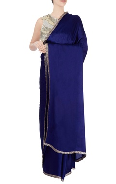 Royal blue sari with tasseled blouse