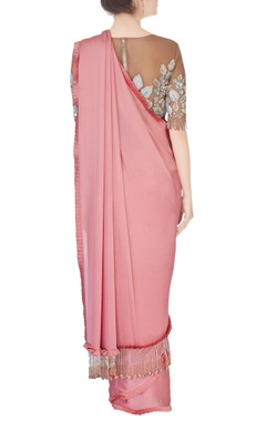 rose pink embellished sari & blouse