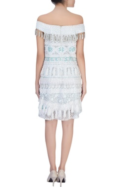 light blue embroidered short dress