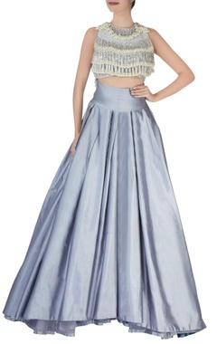 grey pleated lehenga with tassled blouse