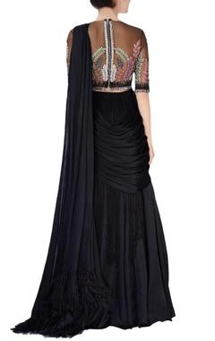 Black pre- stitched sari & blouse