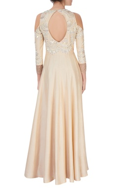 Cream embroidered anarkali with dupatta