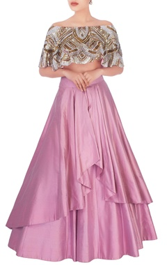 salmon pink lehenga & sequin embellished blouse
