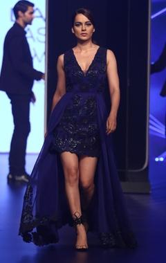 Pankaj & Nidhi Plunge neckline double mesh gown