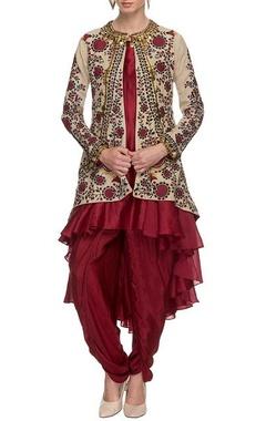 Maroon & beige embroidered jacket & pants set