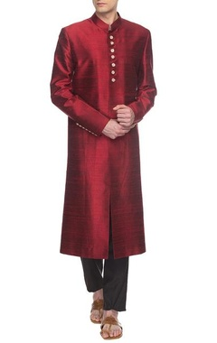 maroon sherwani set