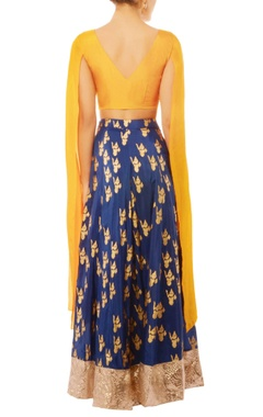Blue & gold ganesha printed skirt