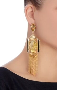 gold grid & chain earrings with black highlights