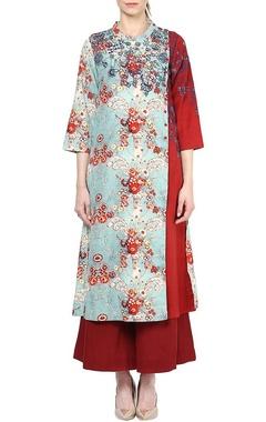 Aqua blue & red printed kurta with palazzos