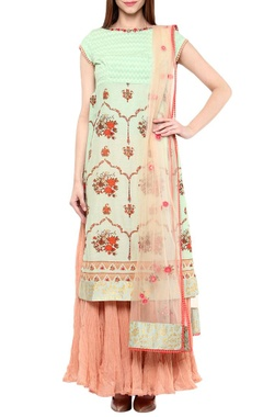 Anju Modi Mint & rose pink printed kurta set