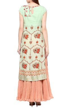 Mint & rose pink printed kurta set