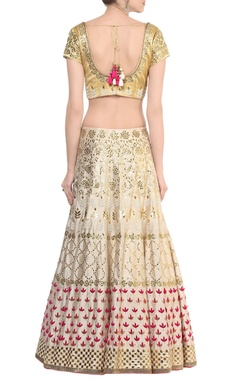 ivory gota patti lehnga with gold embroidered blouse