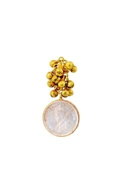 Gold plated earrings with ghungroos & vintage coin