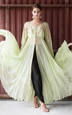 mint green embellished cape jacket & black dhoti pants