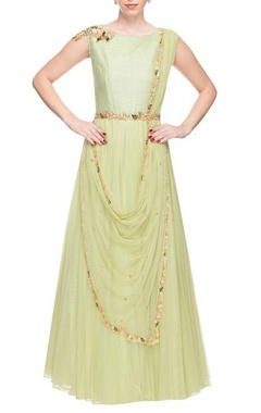 Mint green floral work anarkali with cowl dupatta
