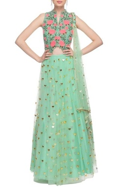 Mint green  thread embroidered lehenga set