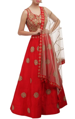 Mishru Red floral embroidered lehenga set