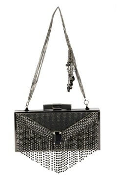 Gunmetal clutch with black stones