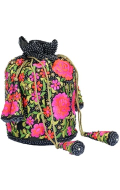 Black and pink floral embroidered potli