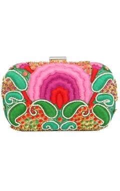 Pink floral resham embroidered clutch