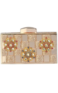 Gold floral embelllished clutch