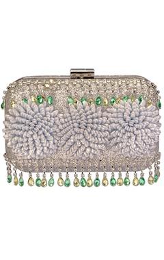 Silver floral embellished clutch