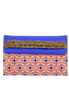Blue and red embroidered clutch
