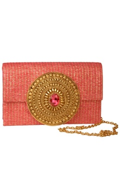 Pink jute embroidered clutch