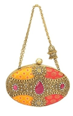 Pink and yellow brocade embroidered oval clutch