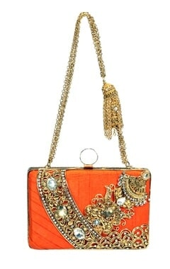 Orange and gold embroidered clutch