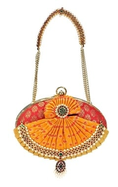 Pink and orange brocade embroidered clutch