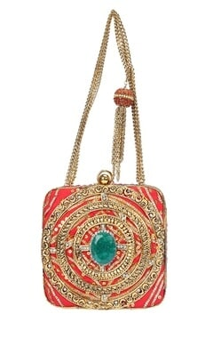 Pink embellished clutch with turquoise stone