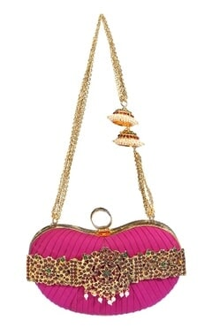 Fushcia embellished clutch